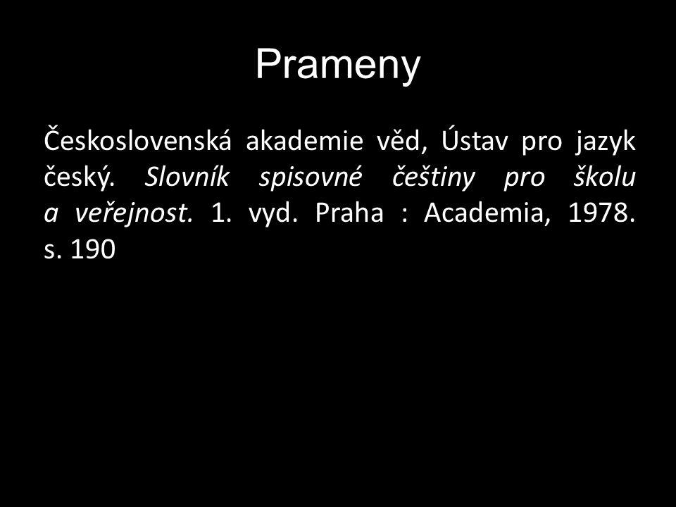 Prameny Československá akademie věd, Ústav pro jazyk český.