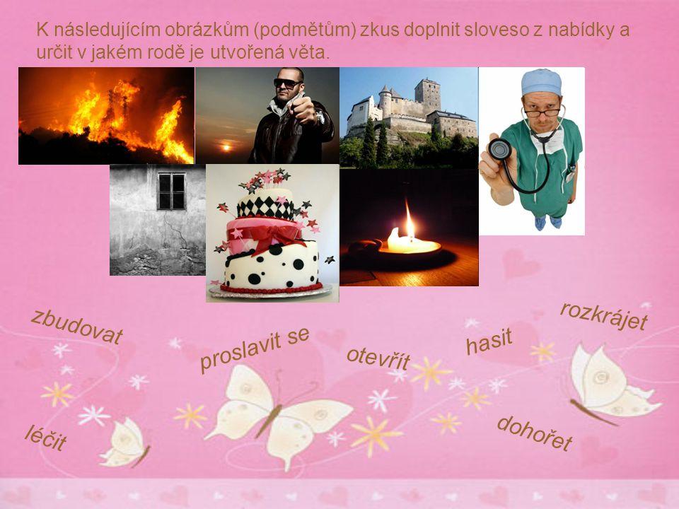 rozkrájet zbudovat proslavit se hasit otevřít dohořet léčit