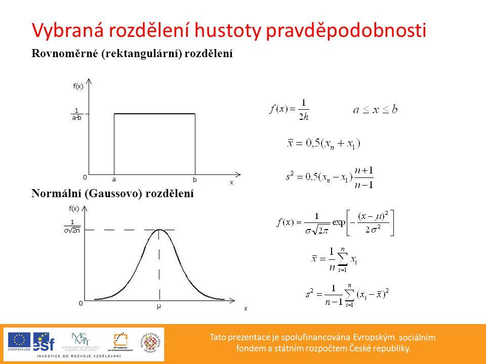 Vybraná rozdělení hustoty pravděpodobnosti