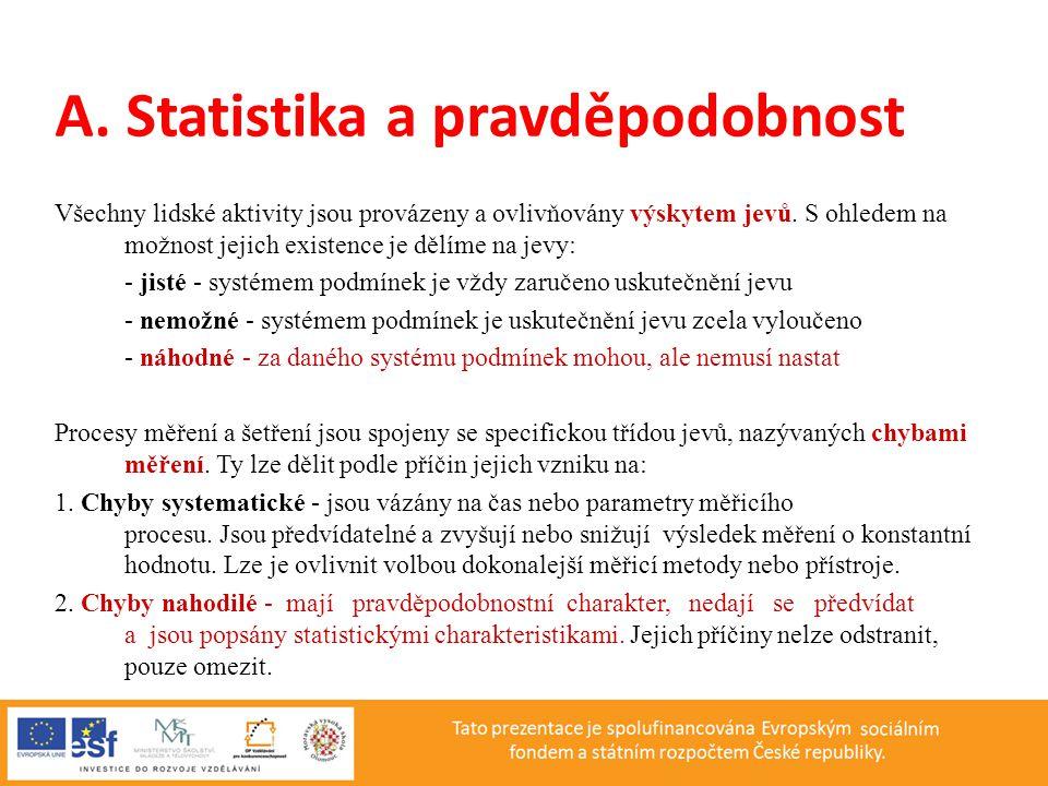 A. Statistika a pravděpodobnost