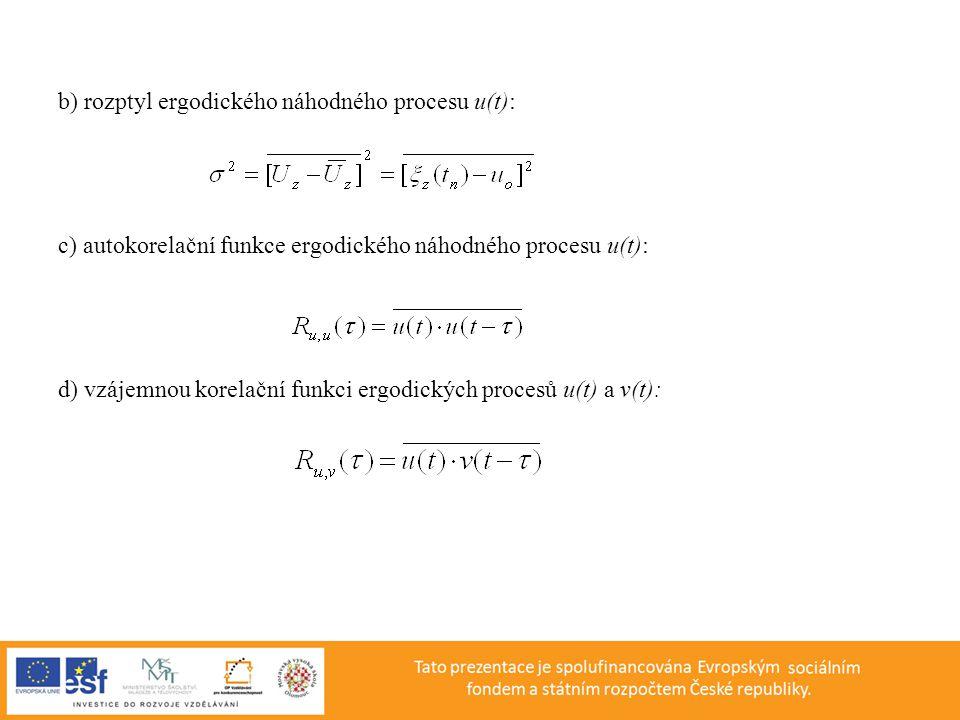 b) rozptyl ergodického náhodného procesu u(t):