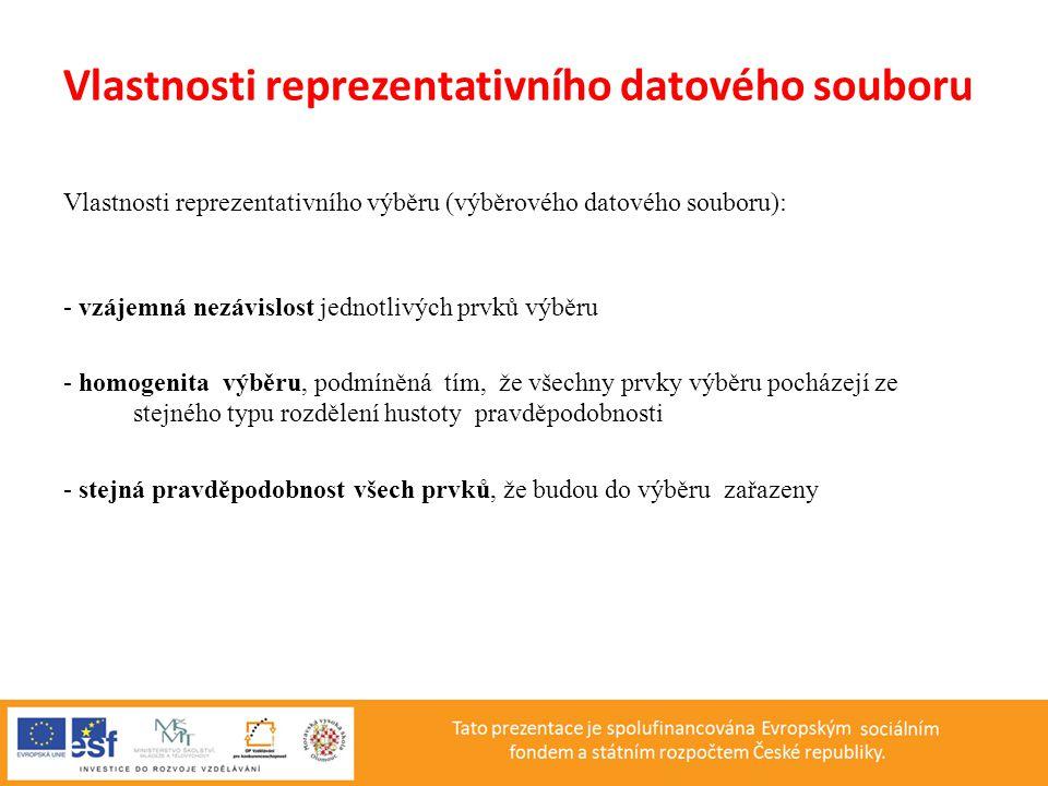 Vlastnosti reprezentativního datového souboru