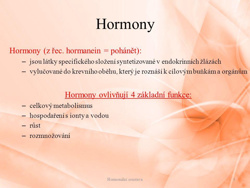 Hormony ovlivňují 4 základní funkce: