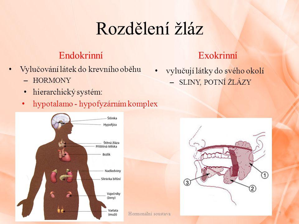 Rozdělení žláz Endokrinní Exokrinní Vylučování látek do krevního oběhu