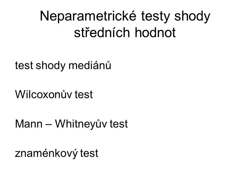 Neparametrické testy shody středních hodnot