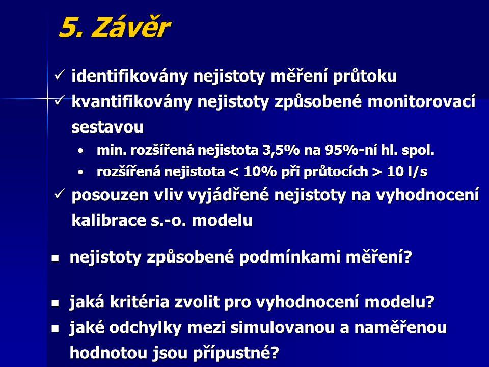 5. Závěr identifikovány nejistoty měření průtoku