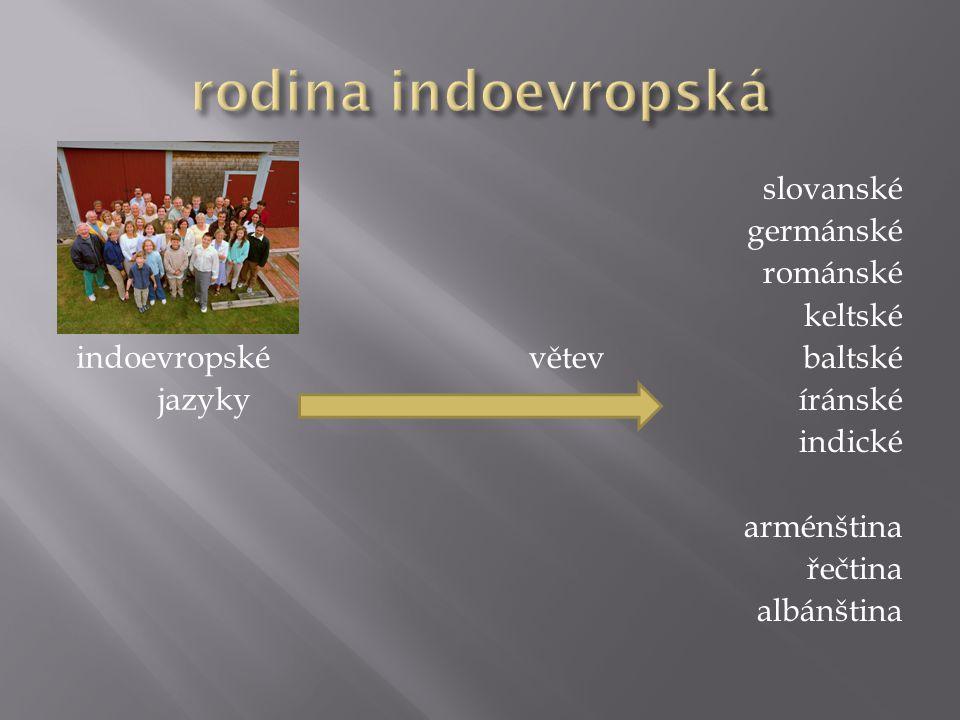rodina indoevropská slovanské germánské románské keltské