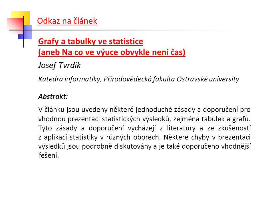 Odkaz na článek Grafy a tabulky ve statistice (aneb Na co ve výuce obvykle není čas) Josef Tvrdík.