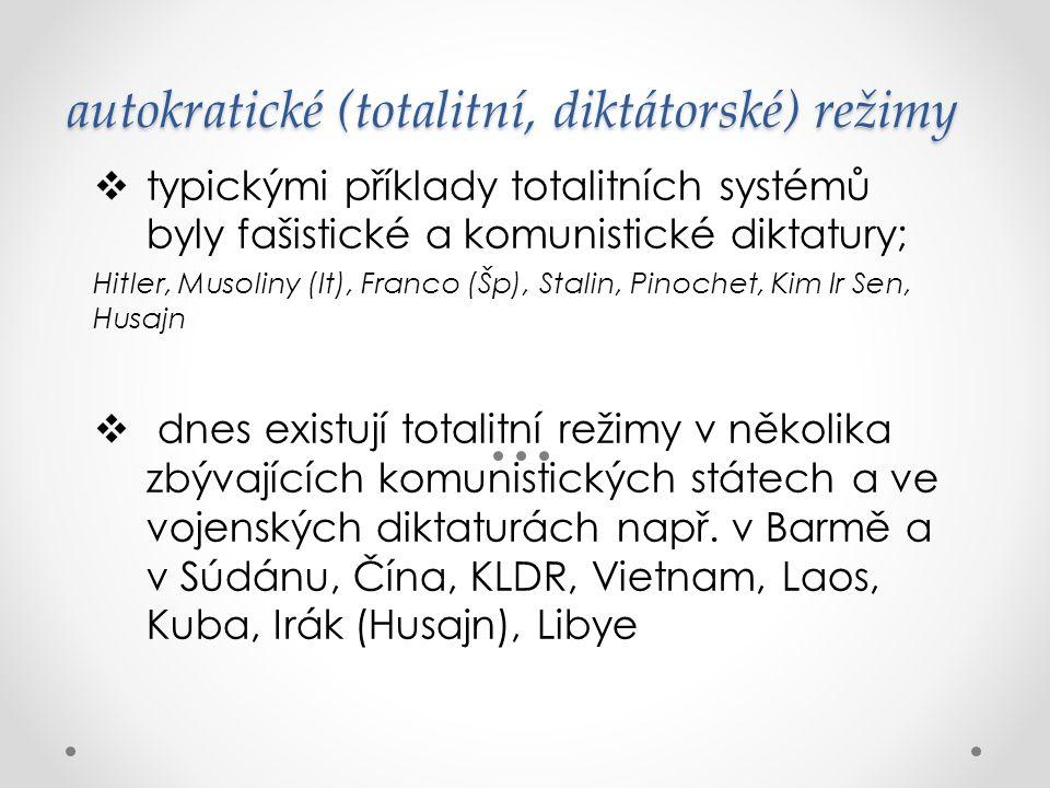 autokratické (totalitní, diktátorské) režimy