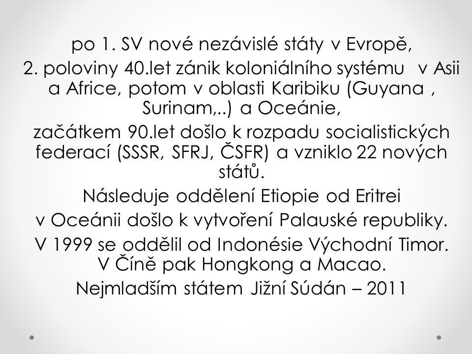 po 1. SV nové nezávislé státy v Evropě,