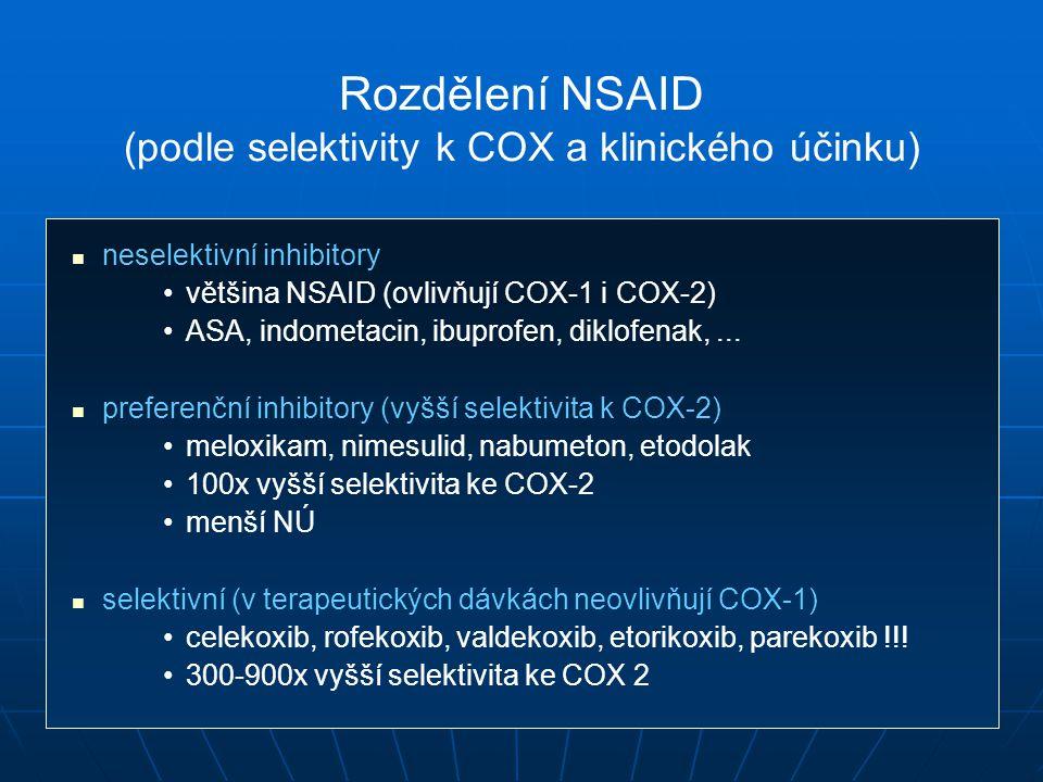 Rozdělení NSAID (podle selektivity k COX a klinického účinku)