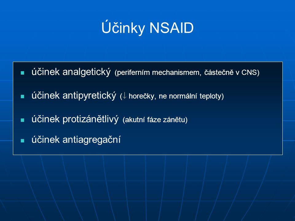 Účinky NSAID účinek analgetický (periferním mechanismem, částečně v CNS) účinek antipyretický ( horečky, ne normální teploty)
