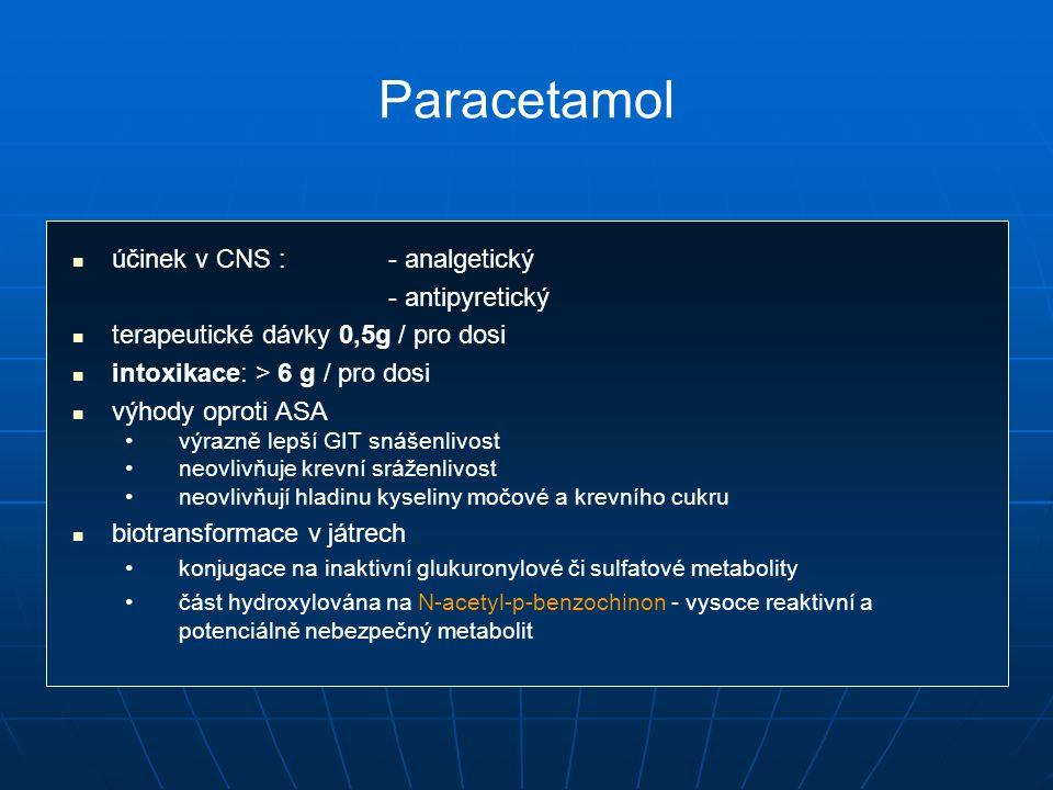 Paracetamol účinek v CNS : - analgetický - antipyretický