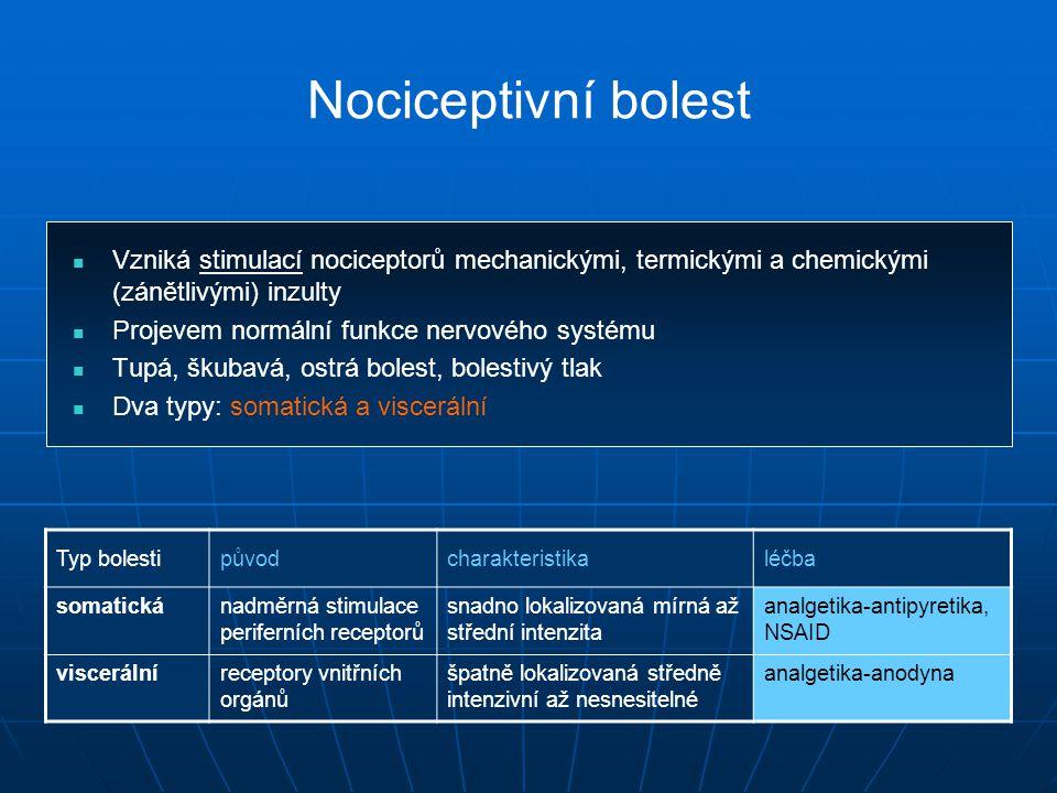 Nociceptivní bolest Vzniká stimulací nociceptorů mechanickými, termickými a chemickými (zánětlivými) inzulty.