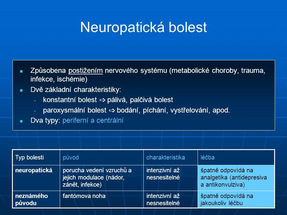 Neuropatická bolest Způsobena postižením nervového systému (metabolické choroby, trauma, infekce, ischémie)