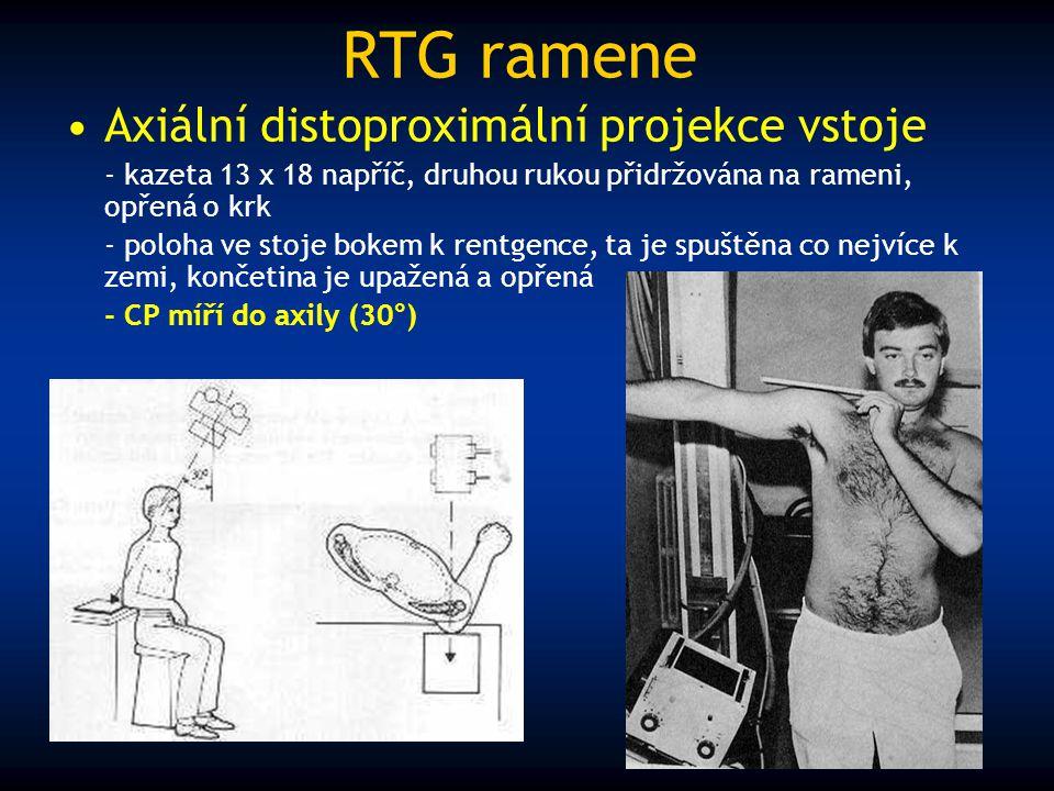 RTG ramene Axiální distoproximální projekce vstoje