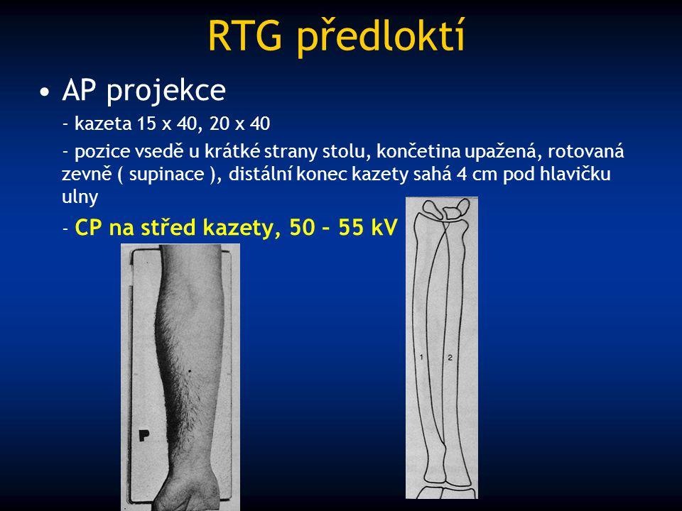 RTG předloktí AP projekce - kazeta 15 x 40, 20 x 40