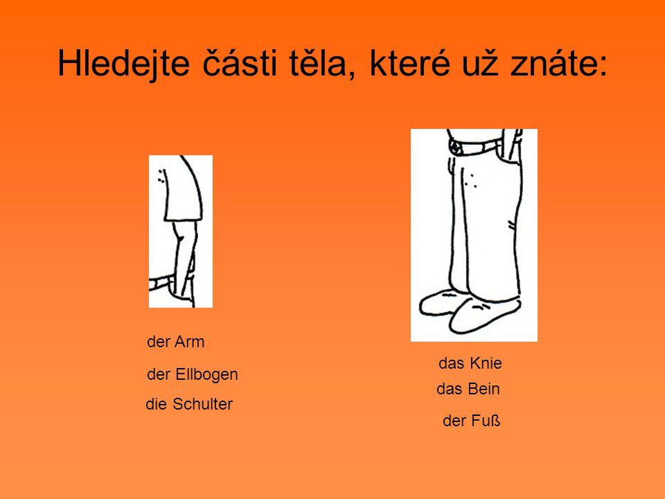 Hledejte části těla, které už znáte: