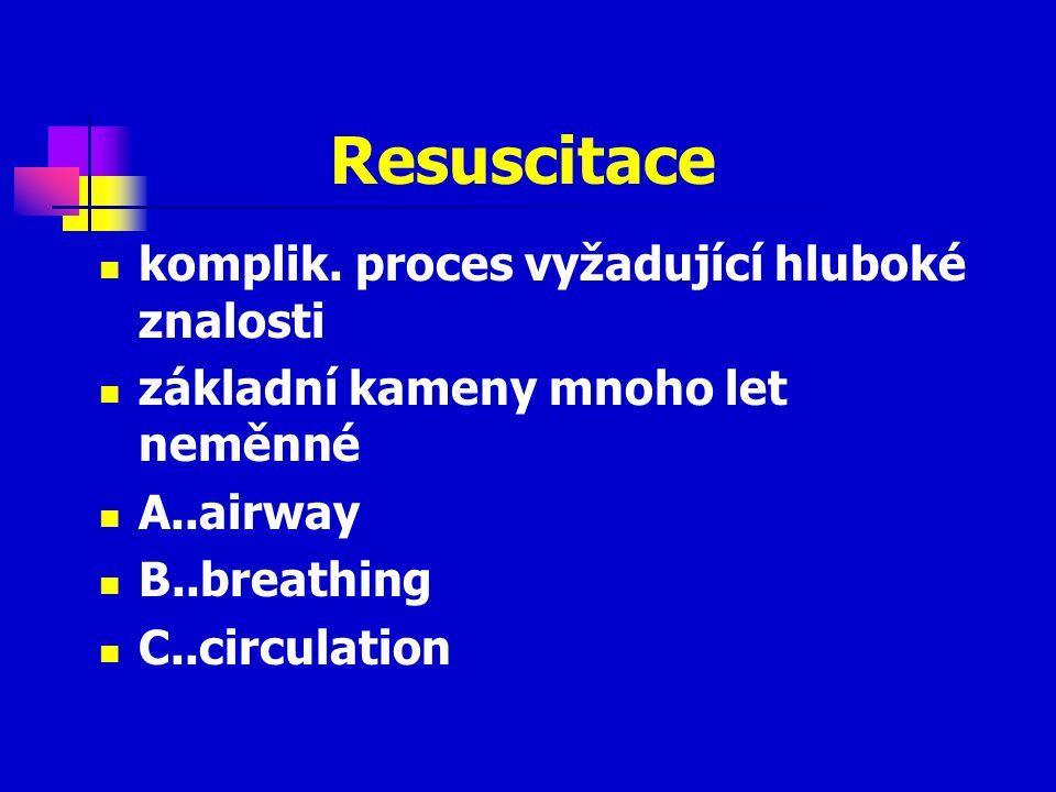 Resuscitace komplik. proces vyžadující hluboké znalosti