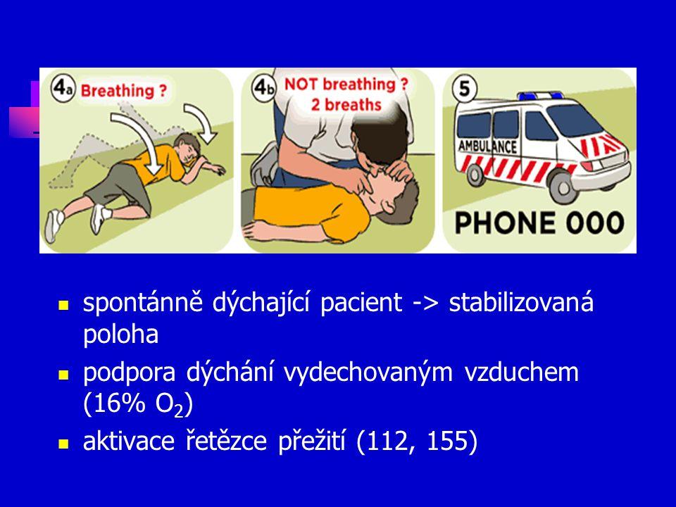 spontánně dýchající pacient -> stabilizovaná poloha