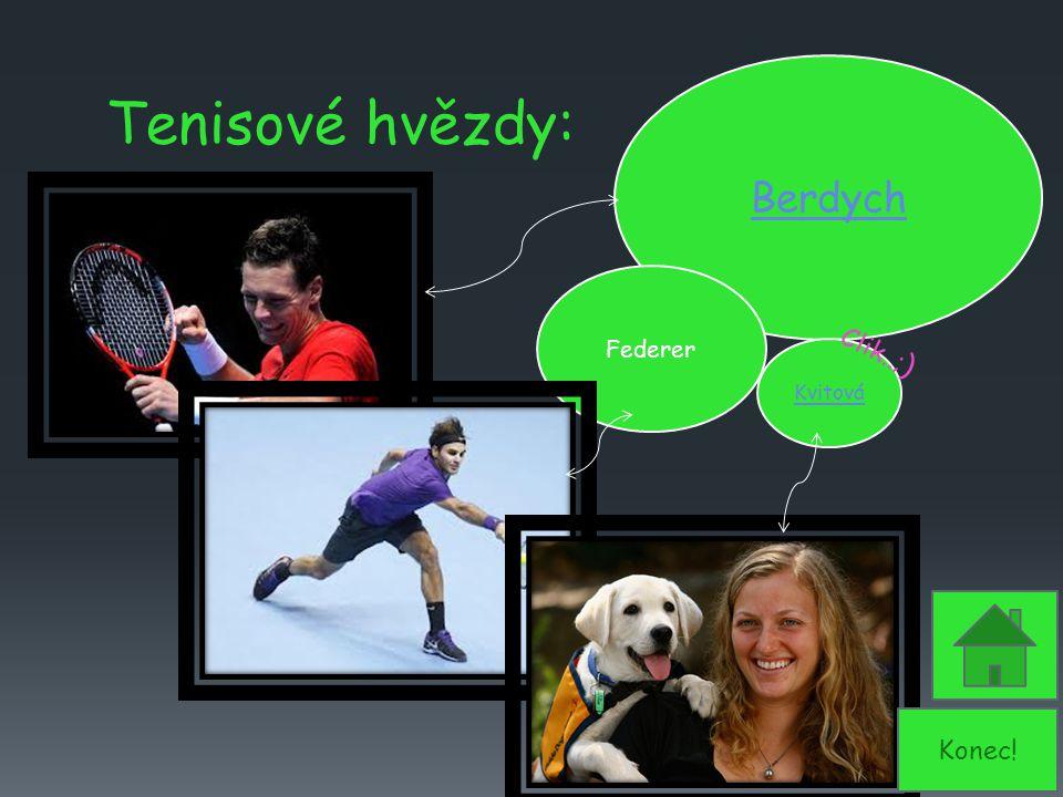 Berdych Kvitová Federer Tenisové hvězdy: Clik..;) Konec!