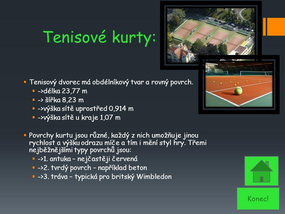 Tenisové kurty: Tenisový dvorec má obdélníkový tvar a rovný povrch. ->délka 23,77 m. -> šířka 8,23 m.