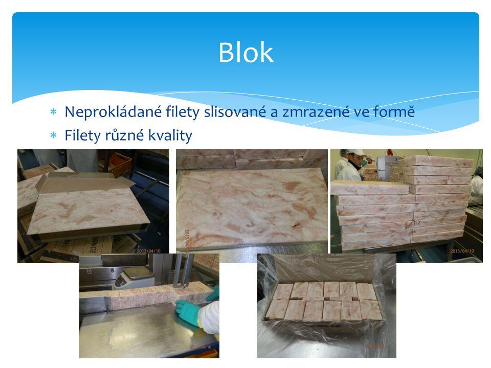 Blok Neprokládané filety slisované a zmrazené ve formě