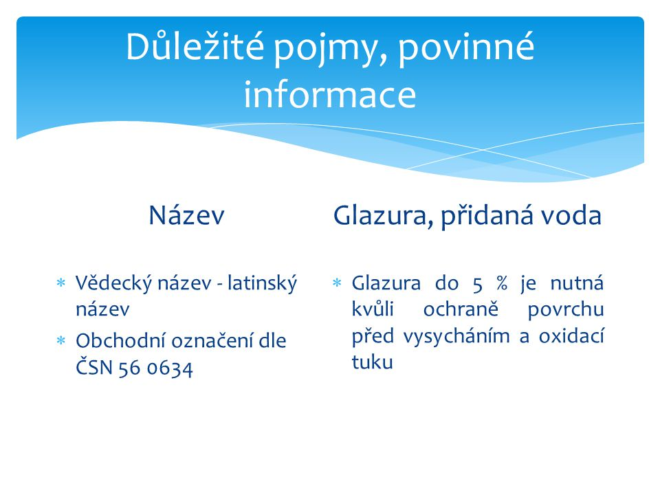Důležité pojmy, povinné informace