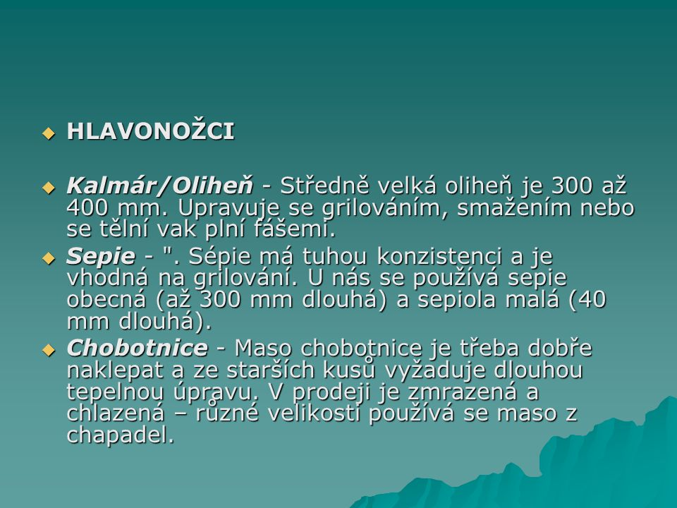 HLAVONOŽCI Kalmár/Oliheň - Středně velká oliheň je 300 až 400 mm. Upravuje se grilováním, smažením nebo se tělní vak plní fášemi.