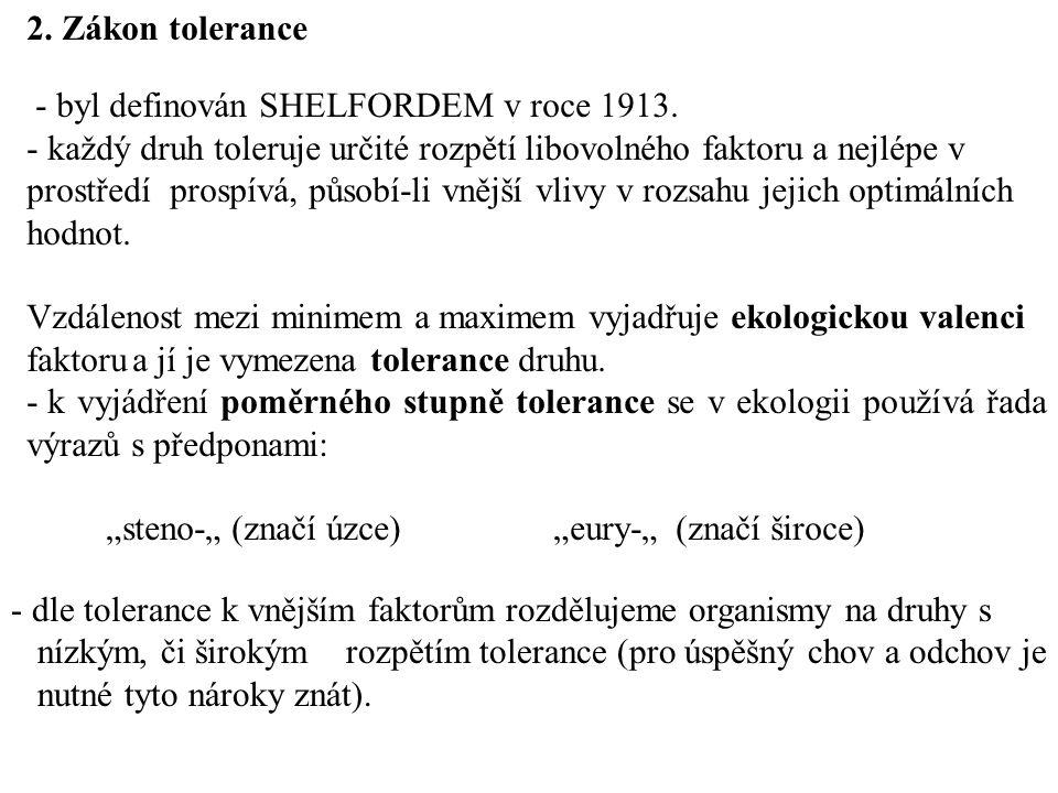2. Zákon tolerance - byl definován SHELFORDEM v roce 1913.