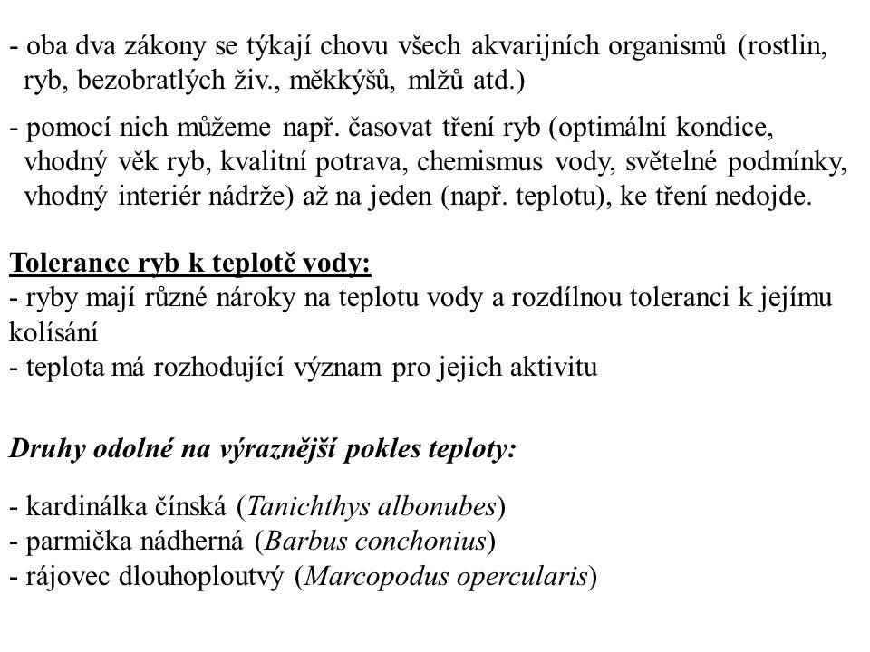 - oba dva zákony se týkají chovu všech akvarijních organismů (rostlin,