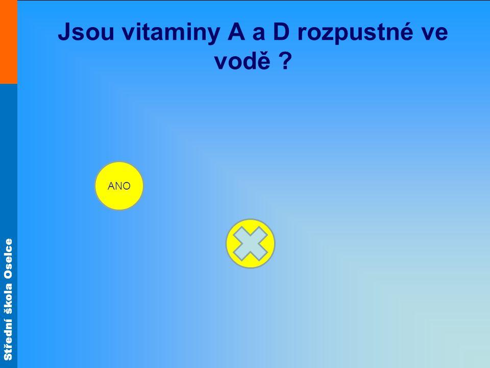 Jsou vitaminy A a D rozpustné ve vodě
