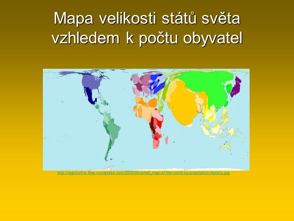 Mapa velikosti států světa vzhledem k počtu obyvatel