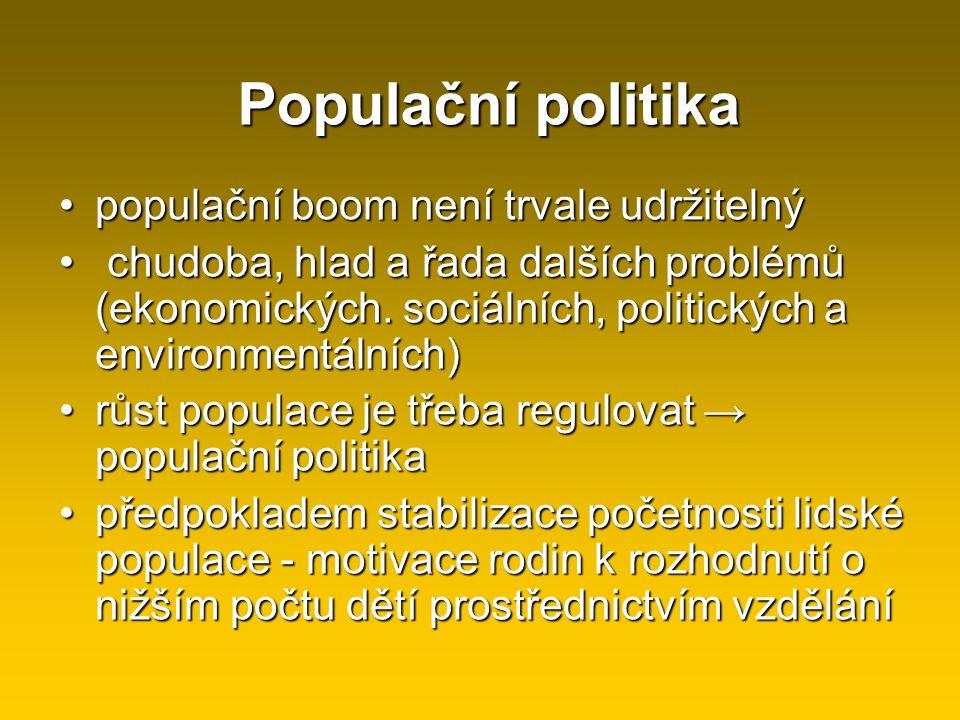 Populační politika populační boom není trvale udržitelný