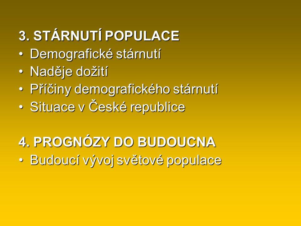 3. STÁRNUTÍ POPULACE Demografické stárnutí. Naděje dožití. Příčiny demografického stárnutí. Situace v České republice.