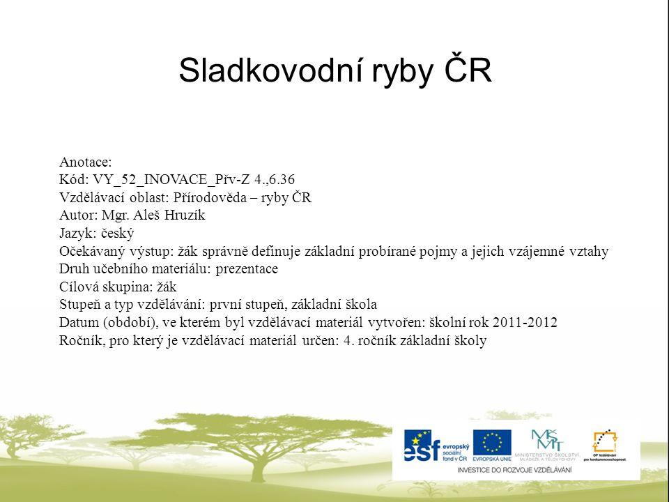 Sladkovodní ryby ČR Anotace: Kód: VY_52_INOVACE_Přv-Z 4.,6.36