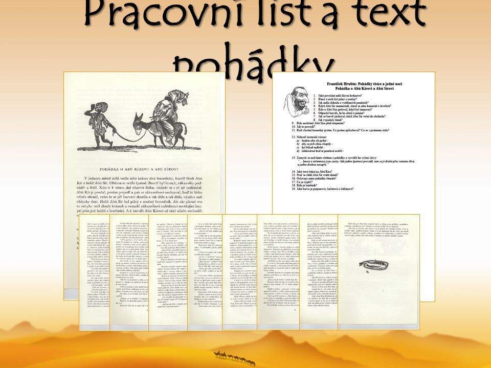 Pracovní list a text pohádky