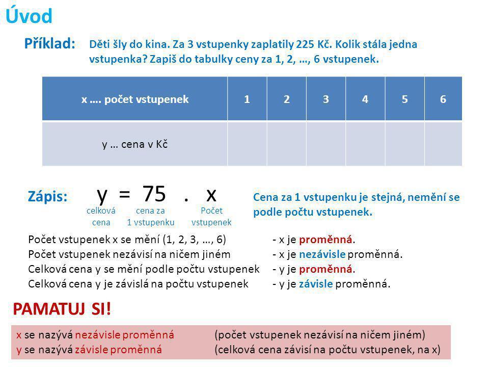 y = 75 . x Úvod PAMATUJ SI! Příklad: Zápis: