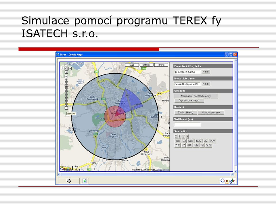 Simulace pomocí programu TEREX fy ISATECH s.r.o.