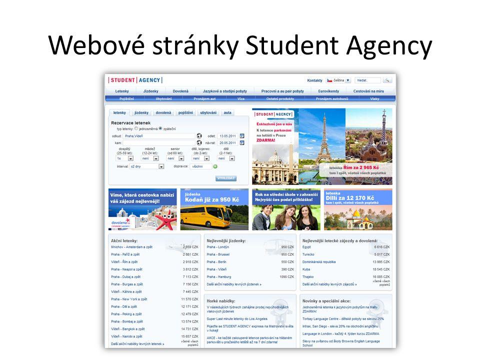 Webové stránky Student Agency