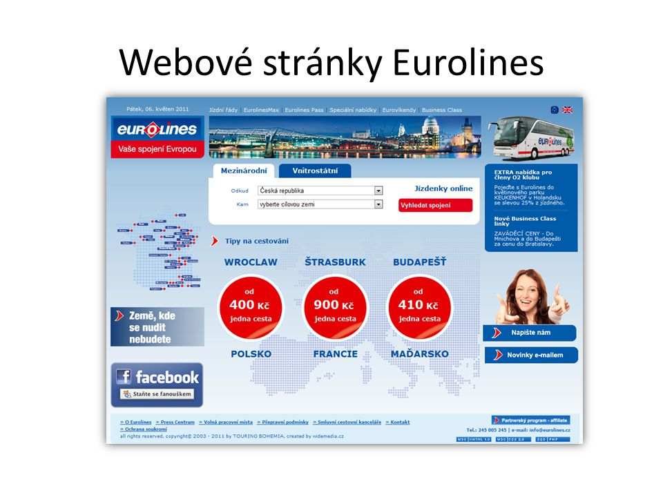 Webové stránky Eurolines