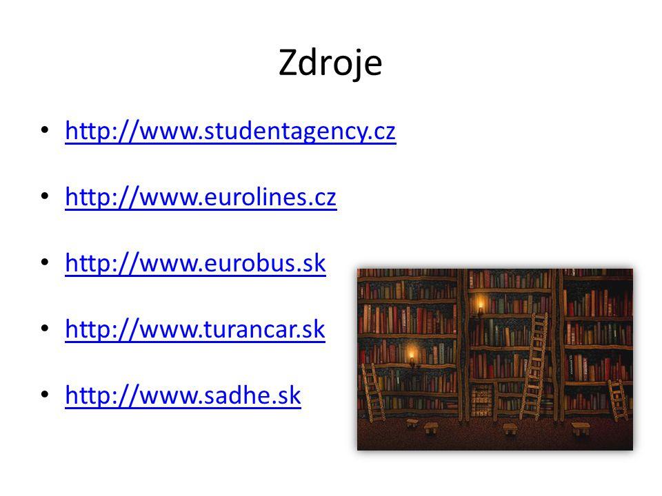 Zdroje http://www.studentagency.cz http://www.eurolines.cz