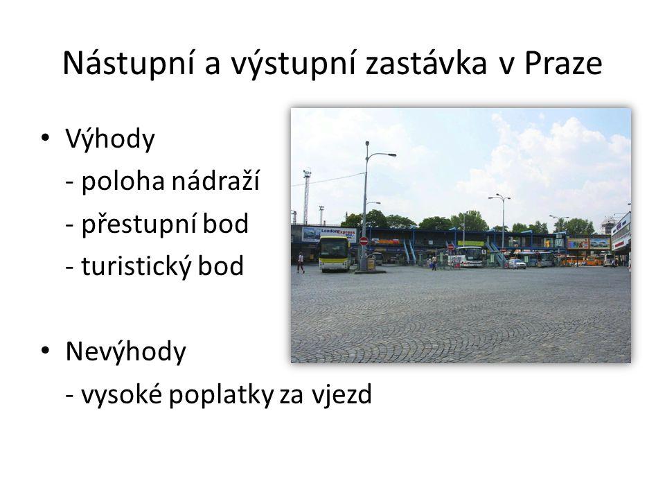 Nástupní a výstupní zastávka v Praze