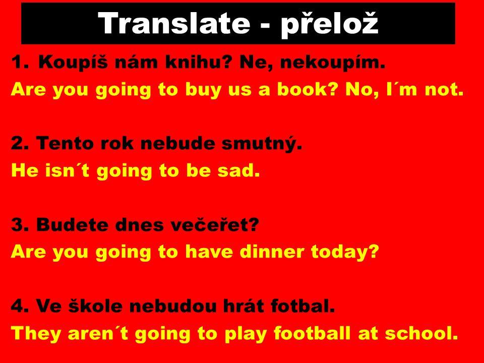 Translate - přelož Koupíš nám knihu Ne, nekoupím.