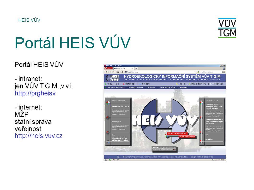 Portál HEIS VÚV Portál HEIS VÚV - intranet: jen VÚV T.G.M.,v.v.i.