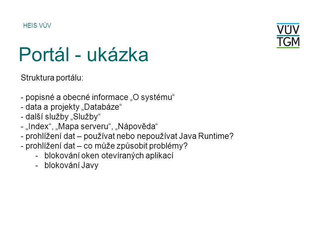 Portál - ukázka Struktura portálu: