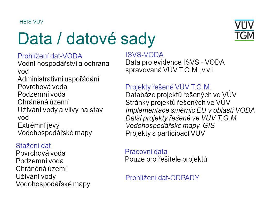 Data / datové sady ISVS-VODA Prohlížení dat-VODA