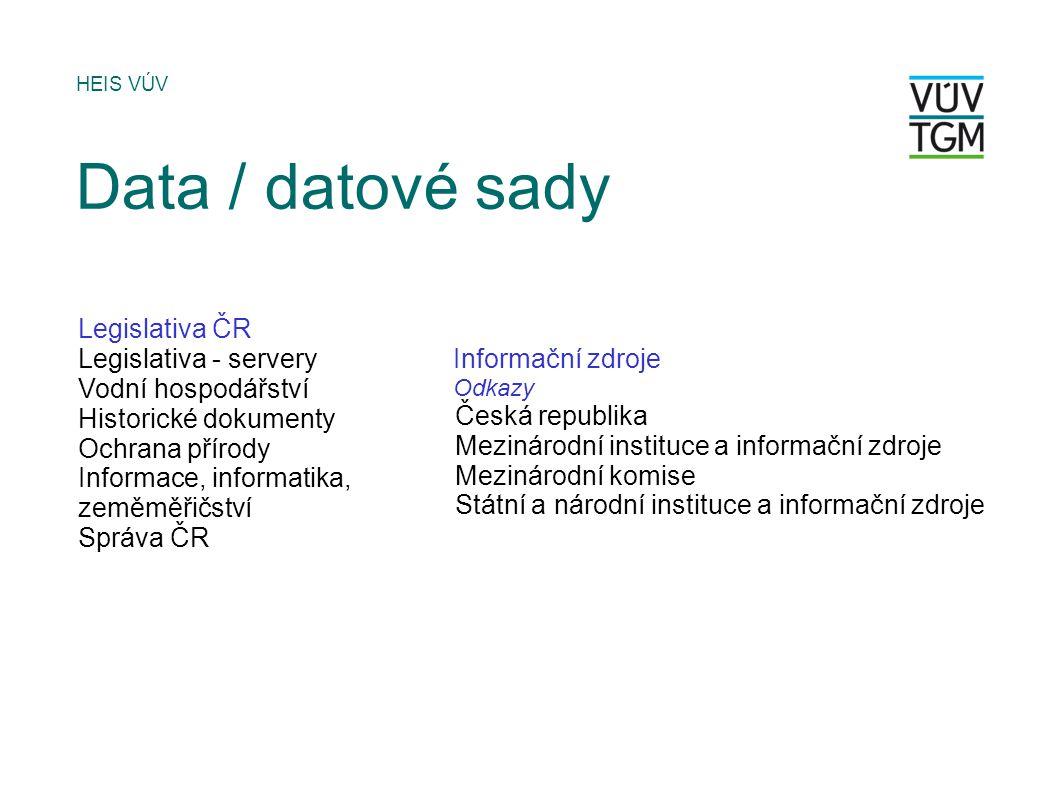 Data / datové sady Legislativa ČR Legislativa - servery