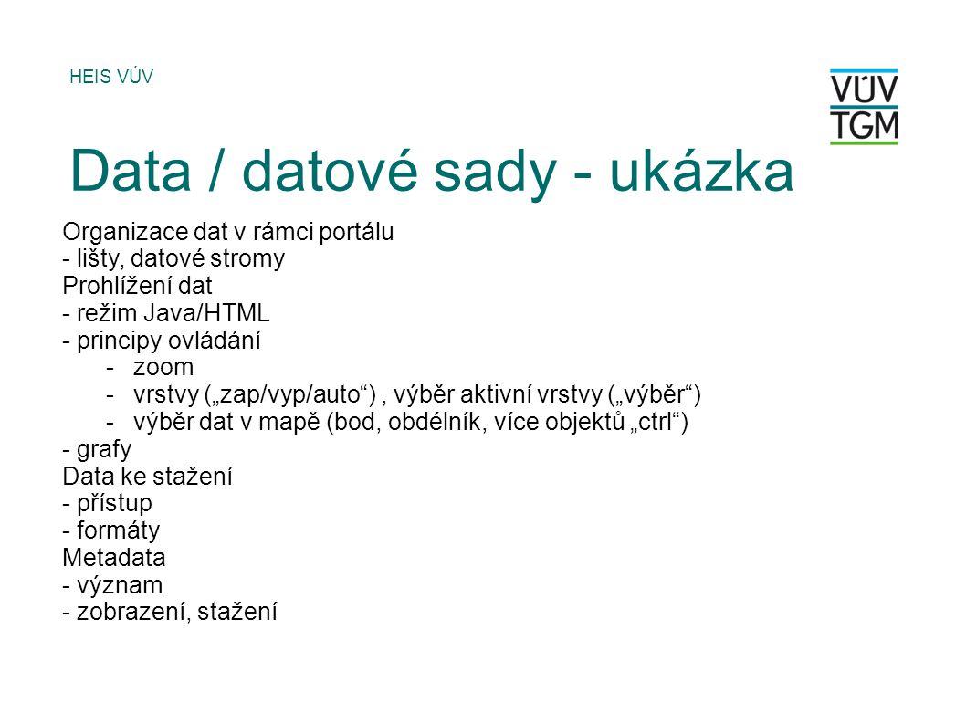 Data / datové sady - ukázka