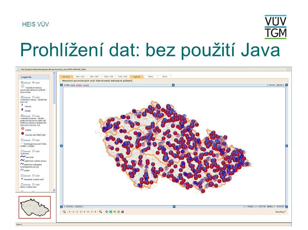Prohlížení dat: bez použití Java